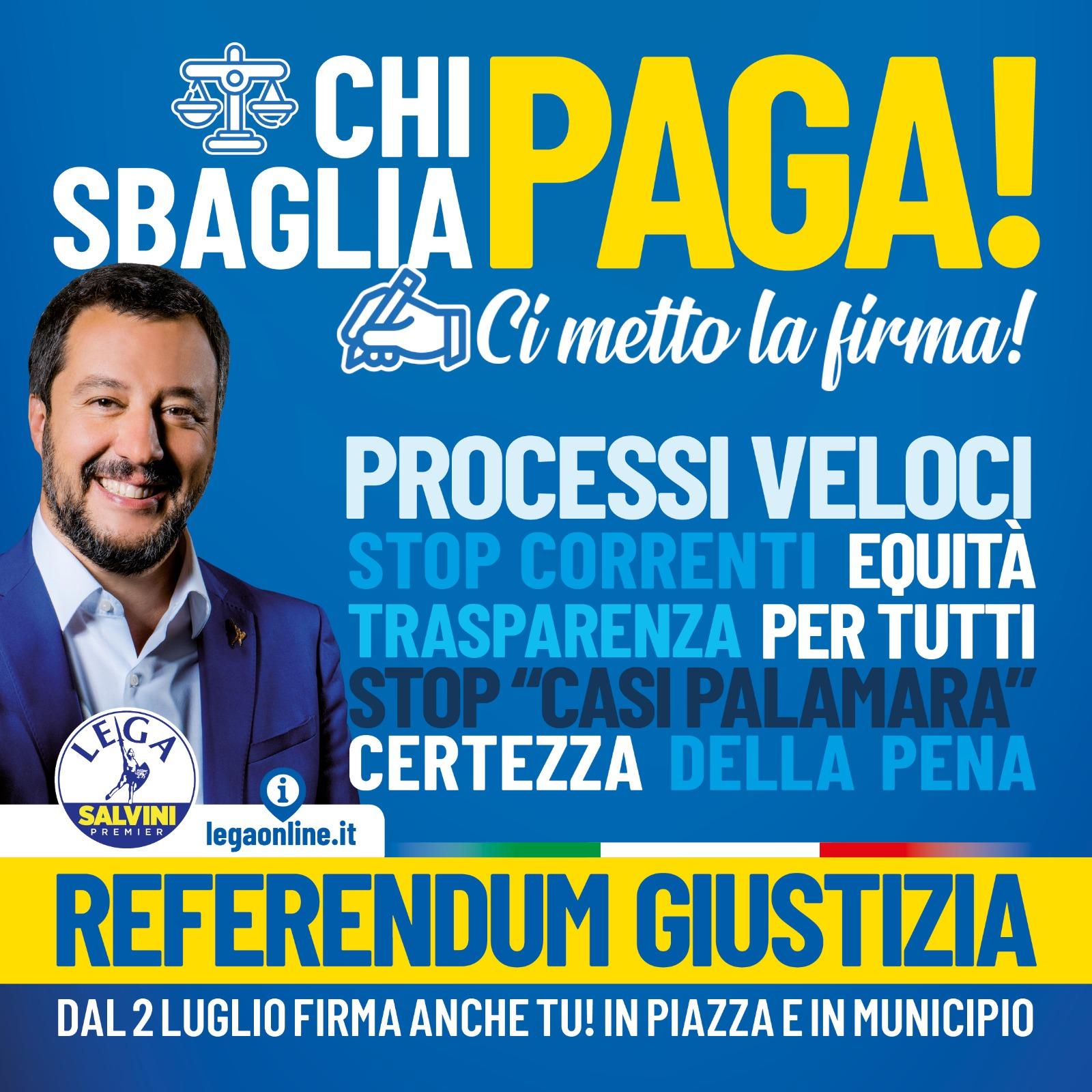 CHI SBAGLIA PAGA! REFERENDUM GIUSTIZIA. Dal 2 luglio firma anche tu ai gazebo nelle piazze e in tutti i municipi d'Italia!
