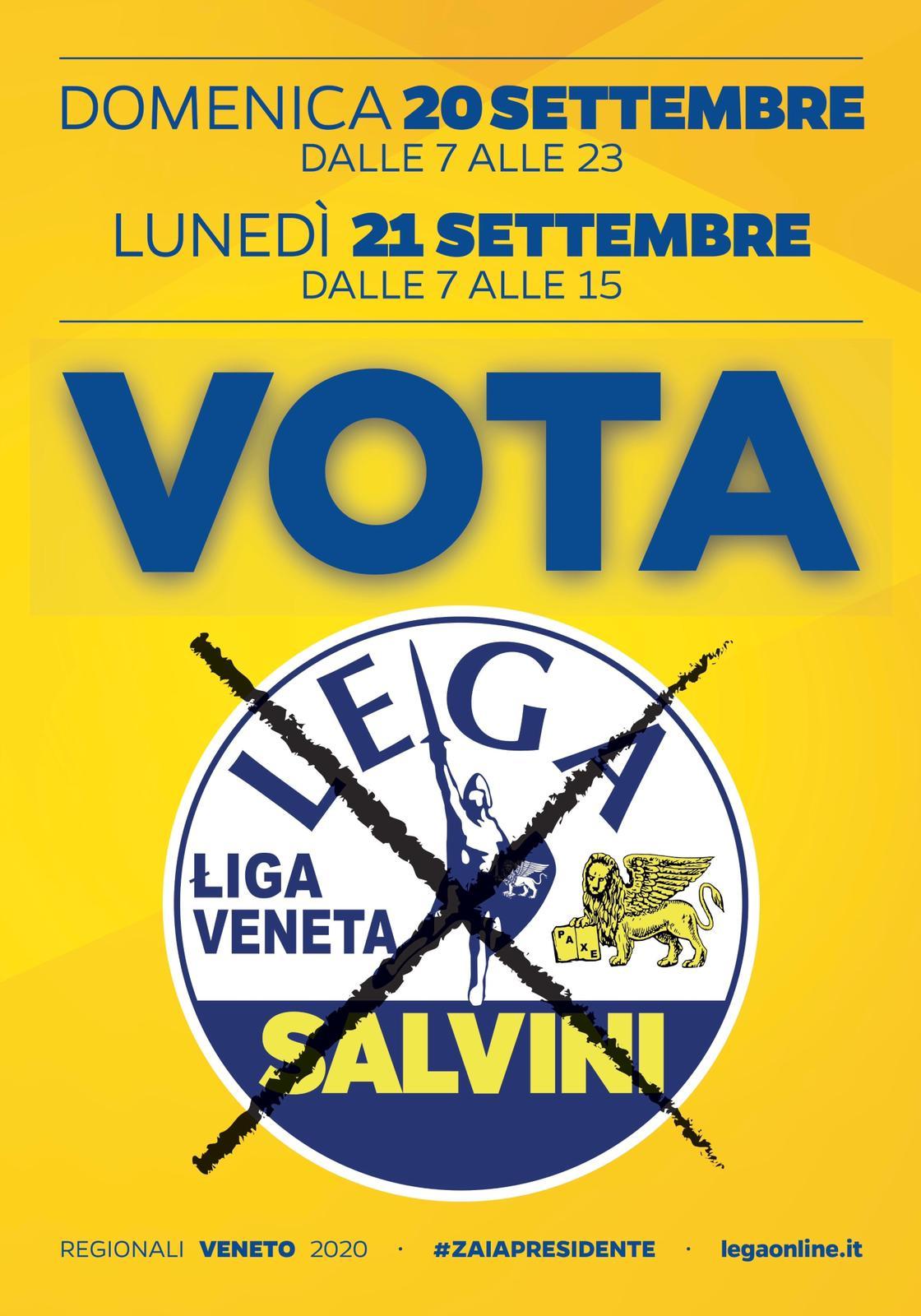 Domenica 20 settembre dalle 7 alle 23 e lunedì 21 settembre dalle 7 alle 15 VOTA LEGA! #ZAIAPRESIDENTE