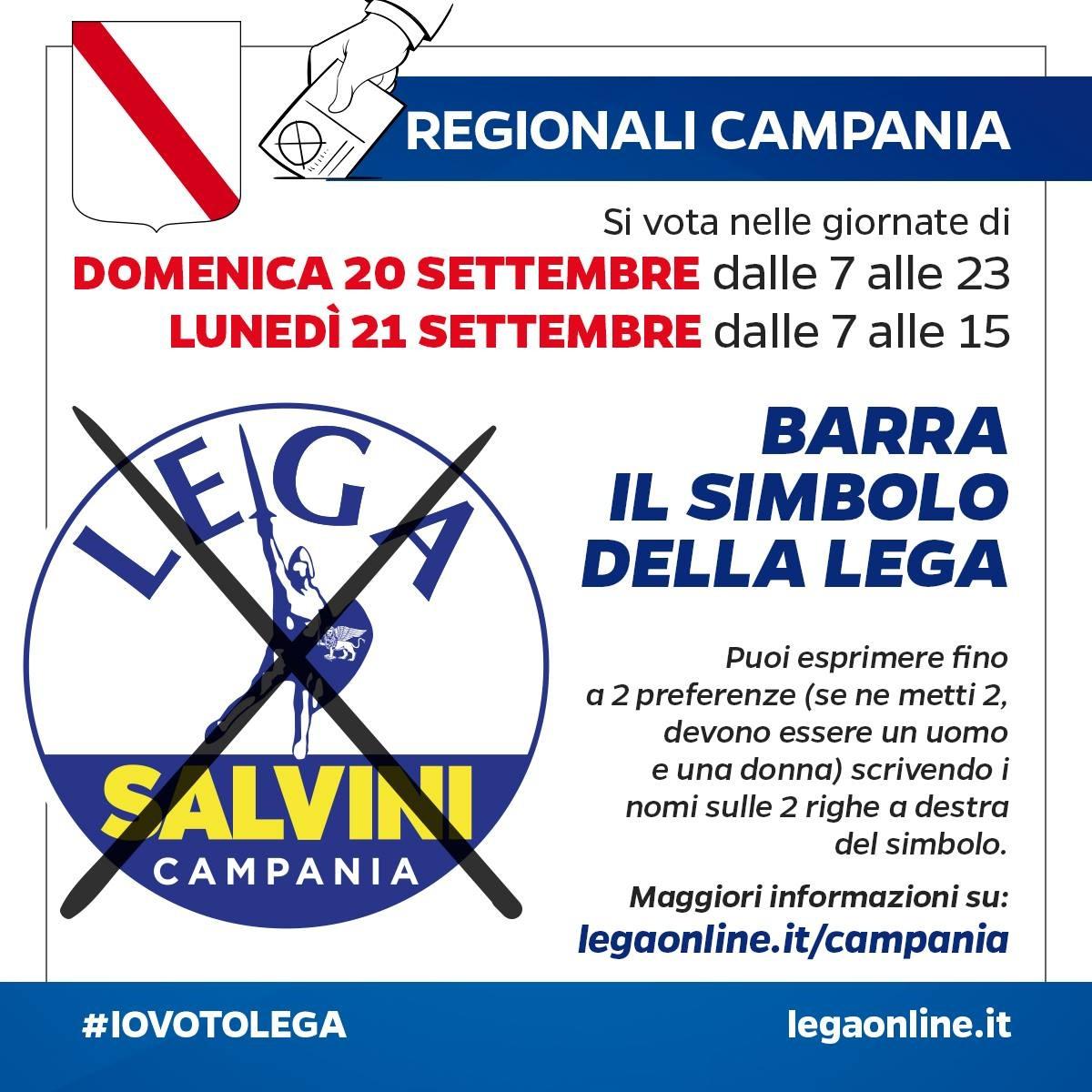 Domenica 20 settembre dalle 7 alle 23 e lunedì 21 settembre dalle 7 alle 15 VOTA LEGA! #STAVOLTAVOTOLEGA