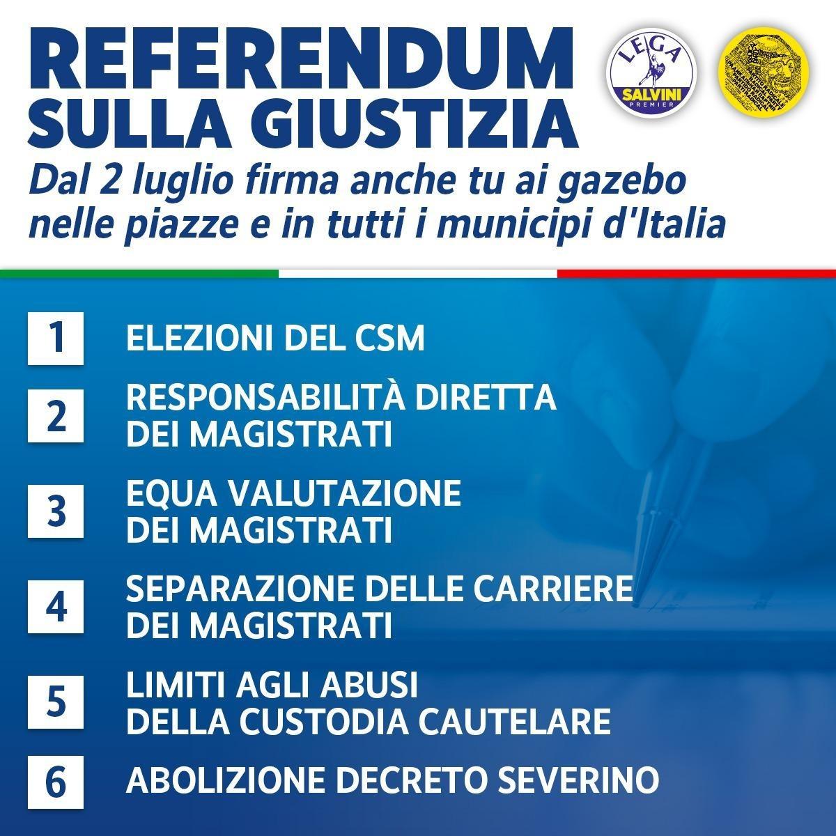 REFERENDUM SULLA GIUSTIZIA. Dal 2 luglio firma anche tu ai gazebo nelle piazze e in tutti i municipi d'Italia!