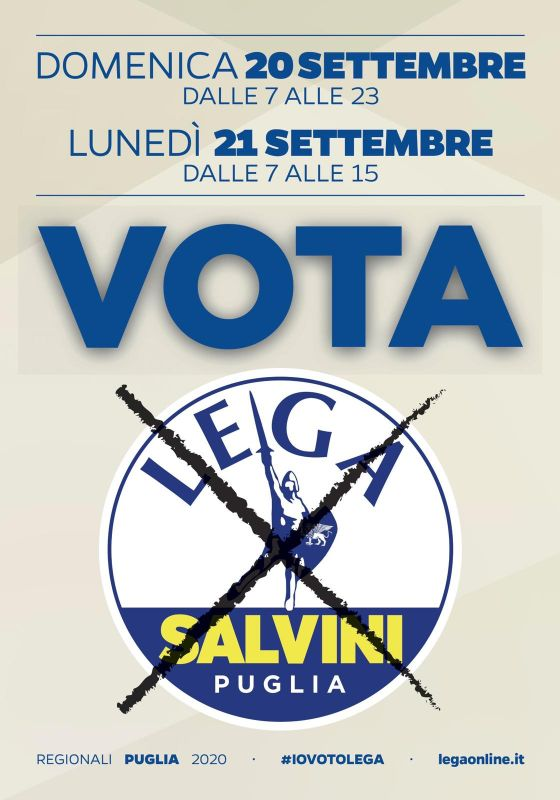 Domenica 20 settembre dalle 7 alle 23 e lunedì 21 settembre dalle 7 alle 15 VOTA LEGA!